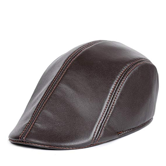 VEMOLLA Men's Real Leather Fashion Newsboy Ivy Cabbie Cap Gatsby Flat Golf Hat
