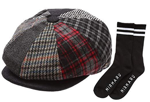 Epoch Men's Patchwork Wool Blend Applejack newsboy Hat With Socks