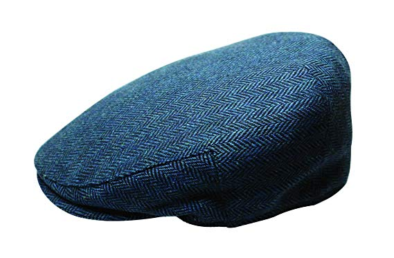 Quiet Man The Irish Designed Blue Herringbone Designed Flat Cap