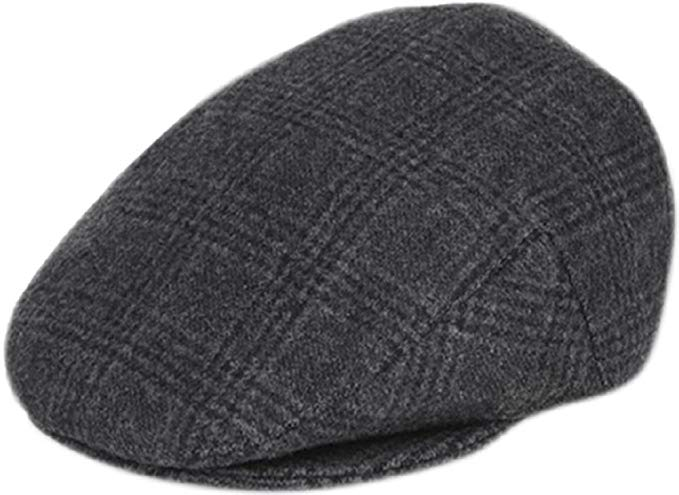 Men's Premium Wool Blend Classic Flat Ivy Newsboy Collection Hat (X-Large, 1930-Black)