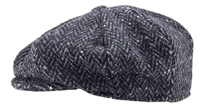 100% Handmade Handwoven Tweed.'Newsboy' Cap.Black Herringbone.made by Hanna Hats