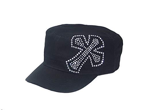 Crystal Cross Black Rhinestone Hat Cap