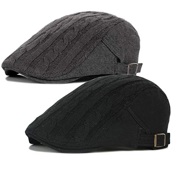 2 Pack Men's Cotton Flat Cap IVY Gatsby newsboy Cabbie Caps Hunting Hat