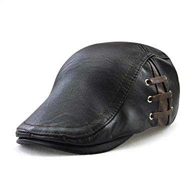 Gudessly Men's Classic Leather Flat Ivy Vintage Newsboy Cap Golf Hunting Cabby Hat