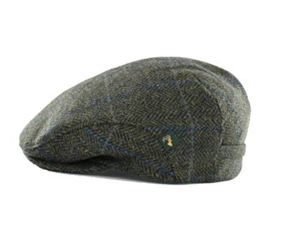 Mucros Irish Tweed Cap Green Plaid Herringbone 100% Wool