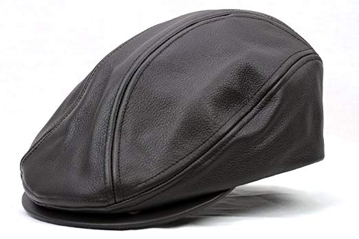 Men's Genuine Leather Ivy Cap Made in USA-Brown-S/M