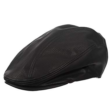 Ultrafino Newsie Faux Leather Ivy Newsboy Cap with Lined Interior
