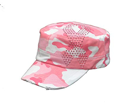 Pink Ribbon Pink Camo Cadet Castro Breast Cancer Hat