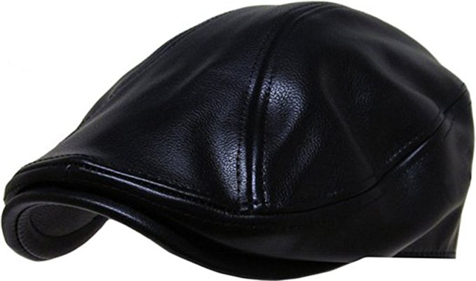 Men Genuine Newsboy Leather Hat Cap Gatsby Flat Golf Cabbie Made In USA