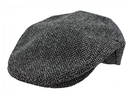 John Hanly Mens Irish Flat Cap Grey Herringbone Wool Made in Ireland Large