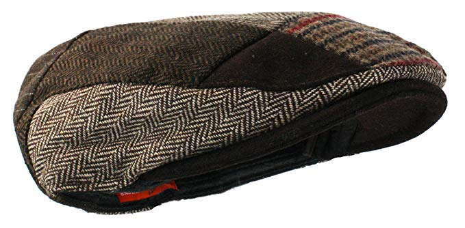 Ted and Jack Tweed Patchwork Newsboy Driving Cap with Quilted Lining