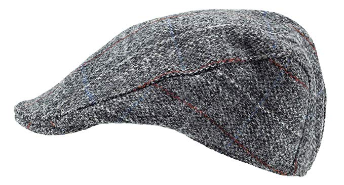 Harris Tweed.Made in Scotland.The Highlander 'Brad Pitt' Style Flat Cap.made by Hanna Hats