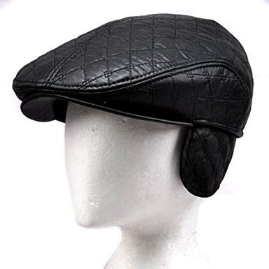 LOCOMO Faux Leather Black Velvet Inside Folding Ear Flap Flat Cap FFH218s57
