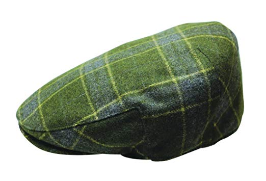 Quiet Man Irish Designed Green Tartan Designed Flat Cap