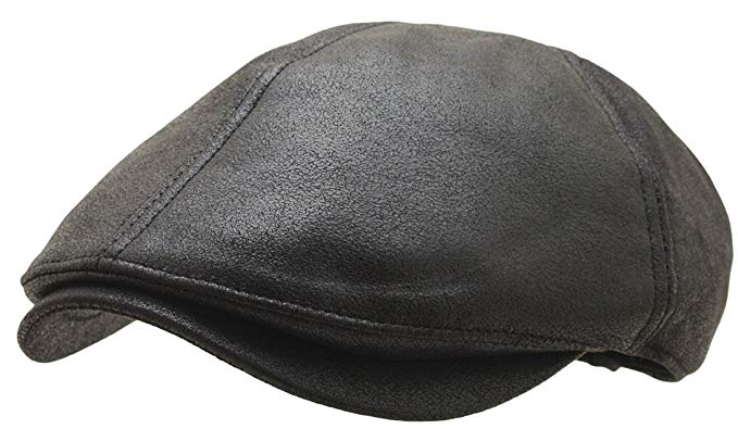 ATOBAO Men Irish Flat IVY Cap Faux Leather Urbane newsboy Hat Gatsby Driving Cabbie