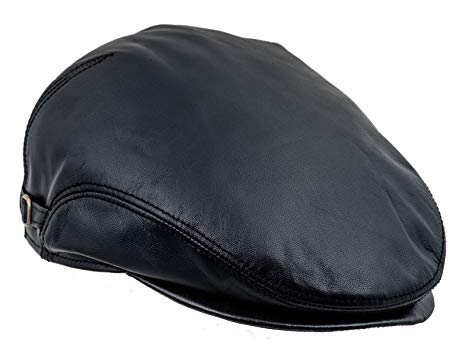 Sterkowski Genuine Leather Ivy League Classic Flat Cap with Earflap