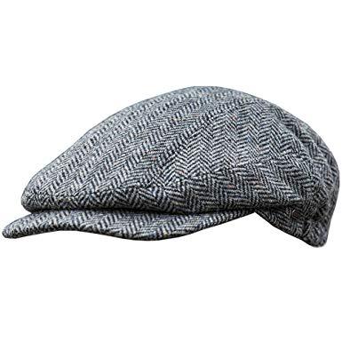 Mucros Weavers Men's Authentic Irish Wool Flat Cap - Traditional Herringbone Style, Made in Ireland, Gray