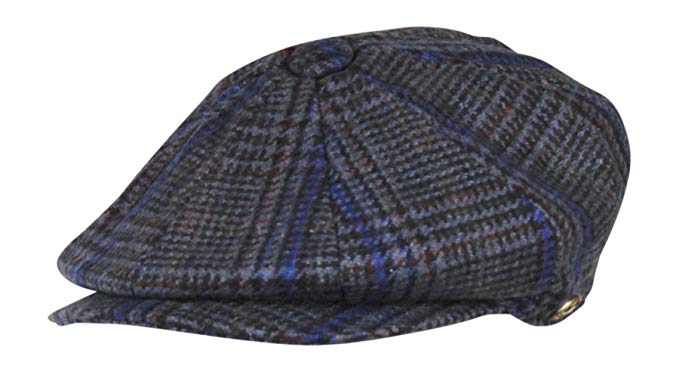100% Wool Glen Plaid Newsboy Irish Ivy Hat w/ Snap Brim – 8 Panel Big Apple Cap