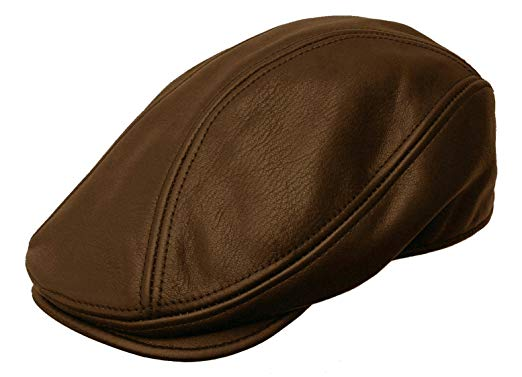 ROOSTER HEADWEAR Rooster Leather Ivy Cap Newsboy Driving Gatsby Hat Black Or Brown USA
