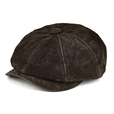 VOBOOM Leather Newsboy Retro Ivy Hat Cap 8 Pannel Cabbie Classtic Beret Hat