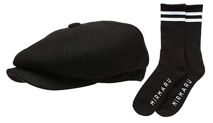 Men's Premium 8 Panel Wool Blend newsboy IVY Hat With Socks.
