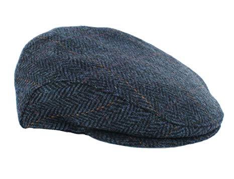 Irish Tweed Cap Navy Herringbone Made in Ireland