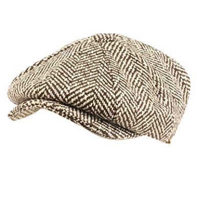 SK Hat shop Men's 100% Wool Winter Herringbone newsboy Cabbie Gatsby Cap Hat