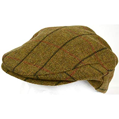 Mens Shooting / Flat / Peak Cap. 100% Pure Wool. Made in Irish Woolen Mill. Brown Check