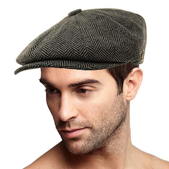 SK Hat shop Men's 100% Winter Wool Herringbone Snap newsboy Drivers Cabbie Cap Hat