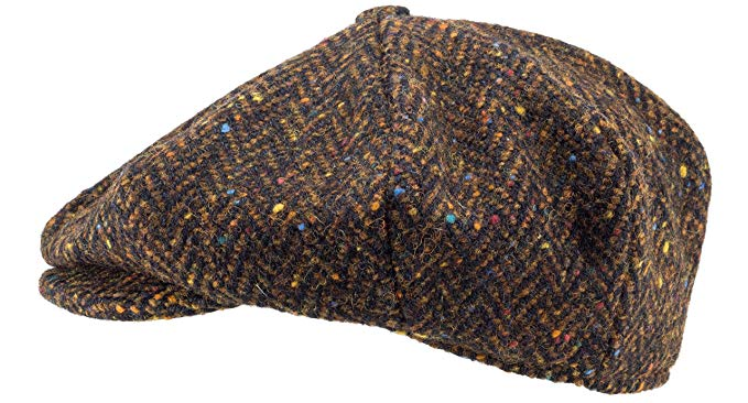 100% Handmade Handwoven Tweed.'Newsboy' Cap.Brown Herringbone.made by Hanna Hats