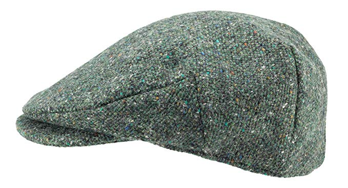 Hanna Hats of Donegal.Irish Flat Cap.Donegal Tweed.Green Salt and Pepper