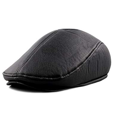 The Hat Depot 200G709PU PU Newsboy Cap with Adjustable Ear Flap