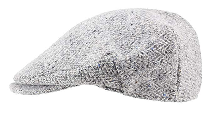 100% Handmade Handwoven Tweed.Irish Flat Cap.Silver Grey Herringbone.made by Hanna Hats